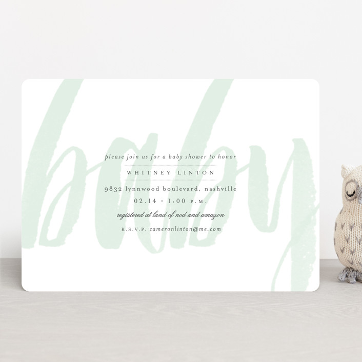 """Whisper"" - Modern, Bold typographic Baby Shower Invitations in Blush by Sara Hicks Malone."