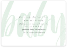 This is a green baby shower invitation by Sara Hicks Malone called Whisper with standard printing on signature in standard.