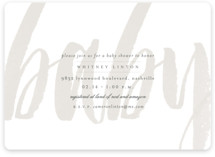 This is a grey baby shower invitation by Sara Hicks Malone called Whisper with standard printing on signature in standard.