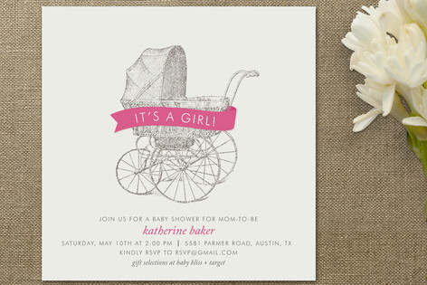 baby invitations bin neutral shower stroller is vintage a paperstyle p z