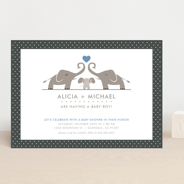 """Elephant Family"" - Classical Baby Shower Invitations in Sky by Aspacia Kusulas."