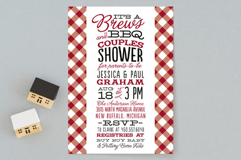 Baby Brews BBQ Baby Shower Invitations by Sarah Minted