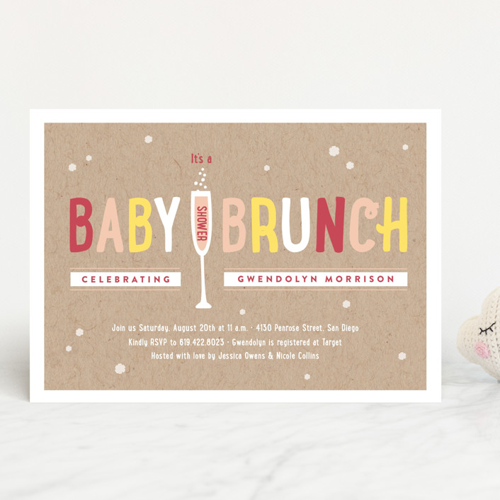 """""""Baby Brunch"""" - Whimsical & Funny, Hand Drawn Baby Shower Invitations in Sky by Erica Krystek."""
