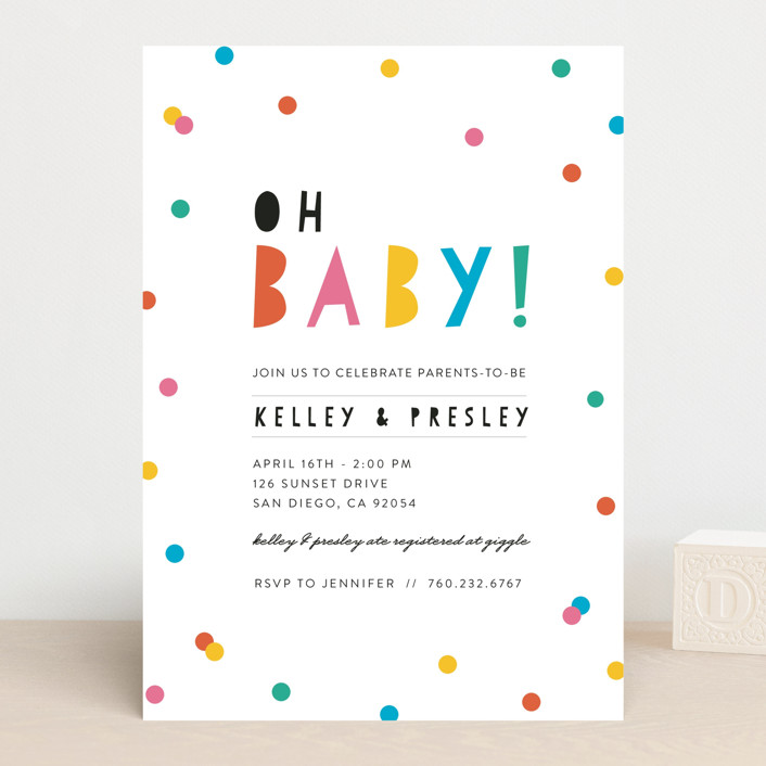 """Bright Confetti Pop"" - Modern Baby Shower Invitations in Coral by Little Print Design."