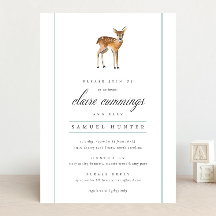"""Fawn Fields"" - Classical, Simple Baby Shower Invitations in Rain by Amy Kross."