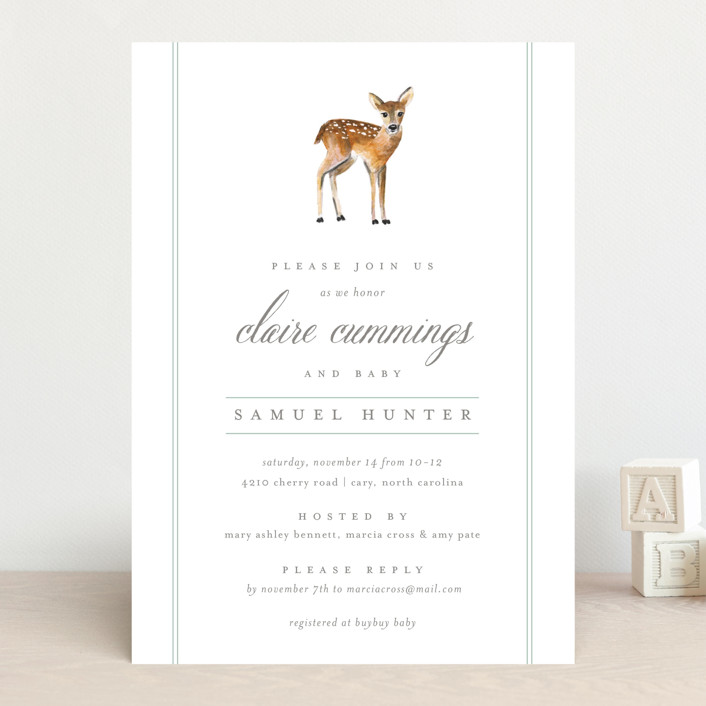 """""""Fawn Fields"""" - Classical, Simple Baby Shower Invitations in Rain by Amy Kross."""