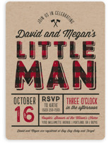 This is a red baby shower invitation by Amy Payne called Little Man with standard printing on signature in standard.