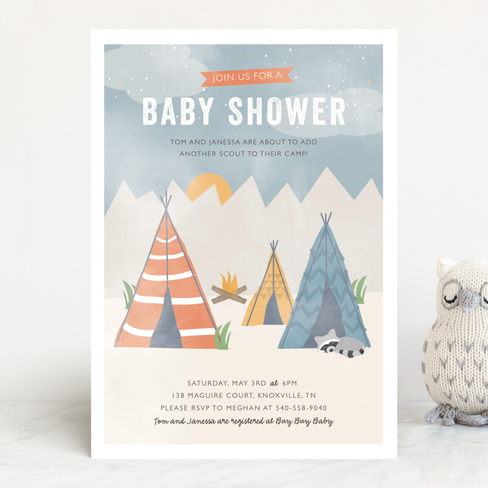 """""""Little Scout"""" - Hand Drawn Baby Shower Invitations in Tangerine by Bethany Anderson."""