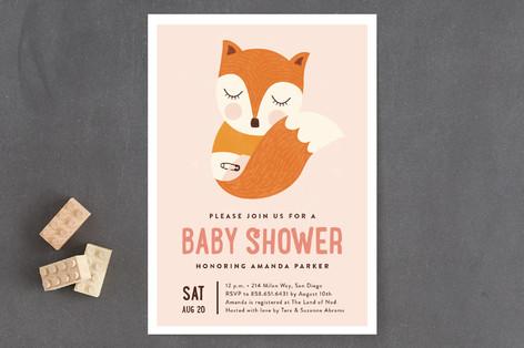 Sleepy Fox Baby Shower Invitations