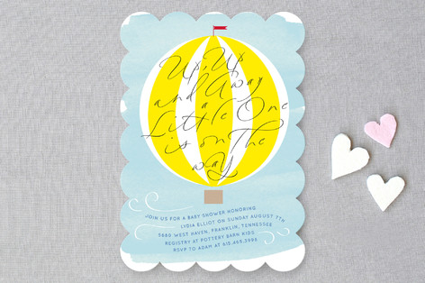 Up Up and Away Baby Shower Invitations