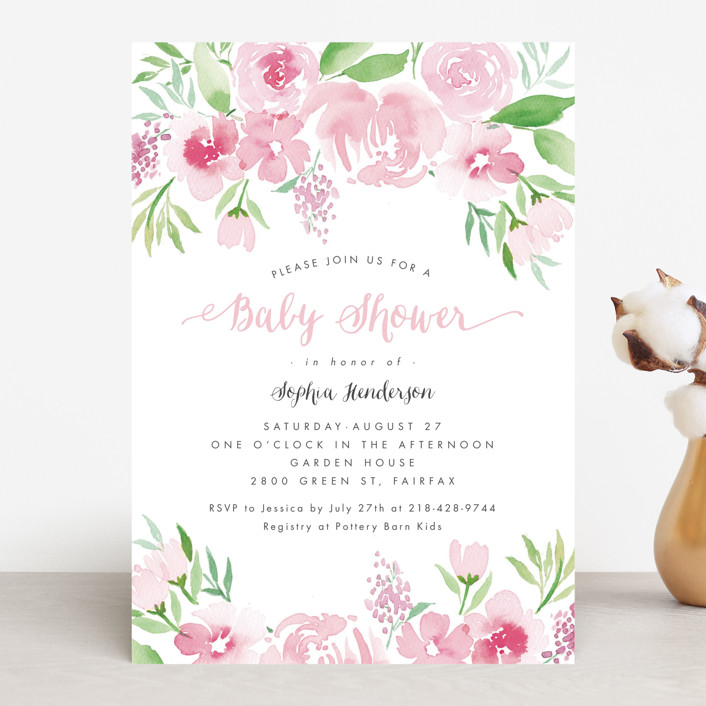 """""""Watercolor Garden"""" - Floral & Botanical Baby Shower Invitations in Petal by Qing Ji."""