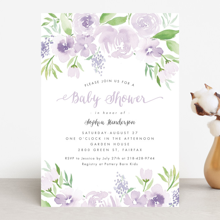 """Watercolor Garden"" - Floral & Botanical Baby Shower Invitations in Petal by Qing Ji."