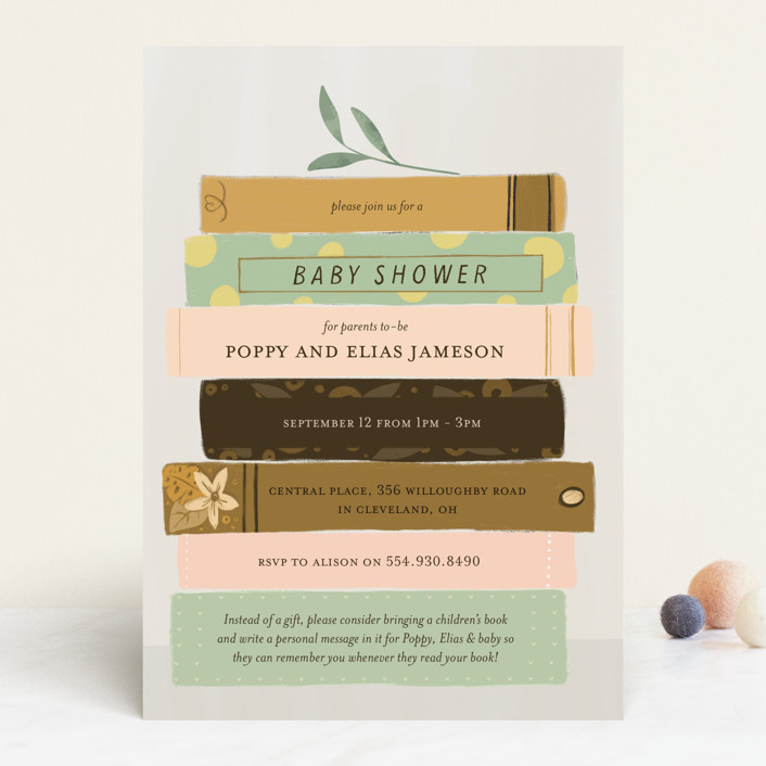 """""""Book Lovers"""" - Whimsical & Funny Baby Shower Invitations in Mustard by Lottie Aldarwish."""