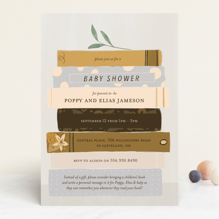 """""""Book Lovers"""" - Whimsical & Funny Baby Shower Invitations in Mustard by Lottie Made Co."""