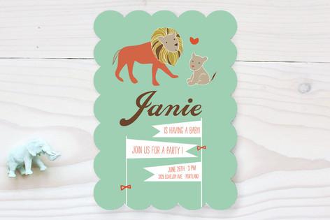 Linus the Lion Cub Baby Shower Invitations