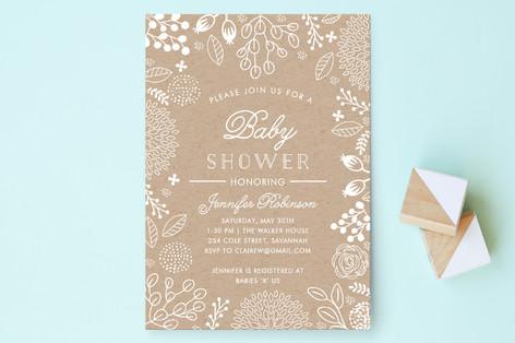 White on Kraft Baby Shower Invitations