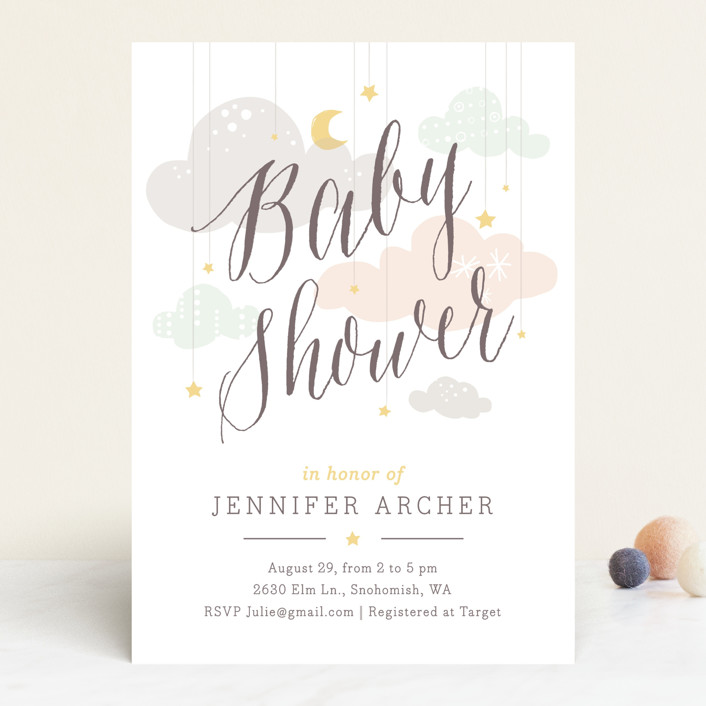 """""""Shower Mobile"""" - Whimsical & Funny Baby Shower Invitations in Cloud by Heather Francisco."""