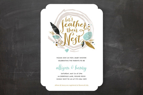 Feathered Nest Baby Shower Invitations