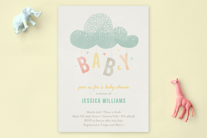 """""""Cloud Charm"""" - Whimsical & Funny Baby Shower Invitations in Sage by Heather Francisco."""