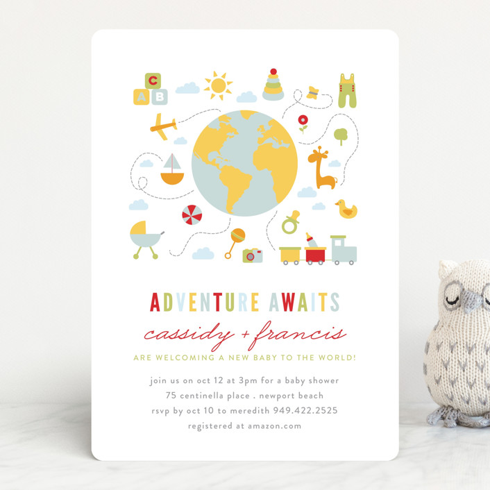 """Adventure Awaits"" - Baby Shower Invitations in Candy Apple by Michelle Poe."
