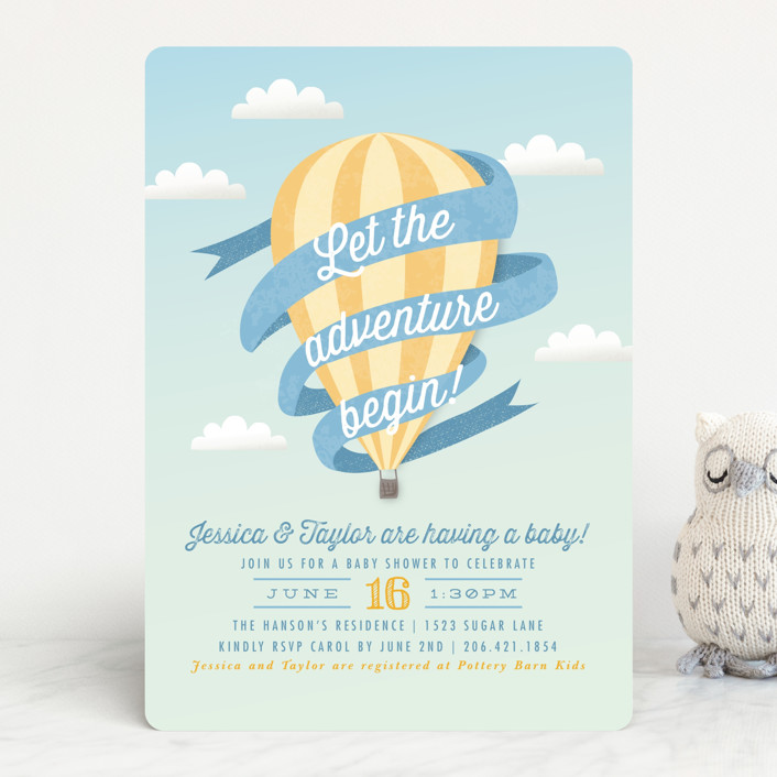 """""""Balloon Adventure"""" - Vintage Baby Shower Invitations in Salmon by Karidy Walker."""