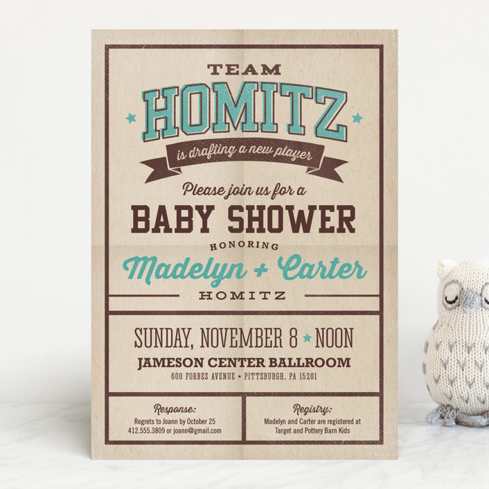 """""""New Player"""" - Bold typographic Baby Shower Invitations in Basketball by Loree Mayer."""