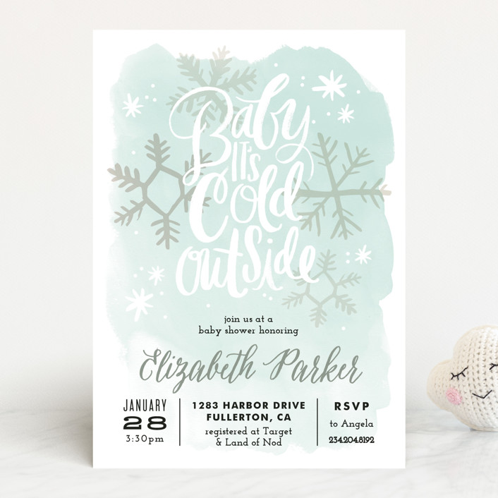 """""""Baby It's Cold Outside"""" - Hand Drawn, Whimsical & Funny Baby Shower Invitations in Periwinkle by Alethea and Ruth."""