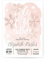 This is a pink baby shower invitation by Alethea and Ruth called Baby It's Cold Outside with standard printing on signature in standard.