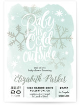 This is a green baby shower invitation by Alethea and Ruth called Baby It's Cold Outside with standard printing on signature in standard.