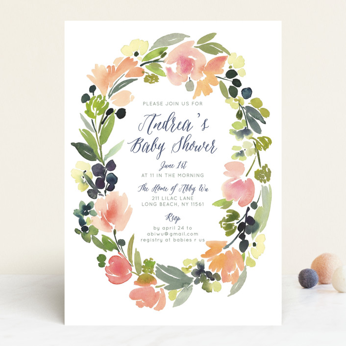 """""""Watercolor Wreath"""" - Floral & Botanical Baby Shower Invitations in Grapefruit by Yao Cheng Design."""