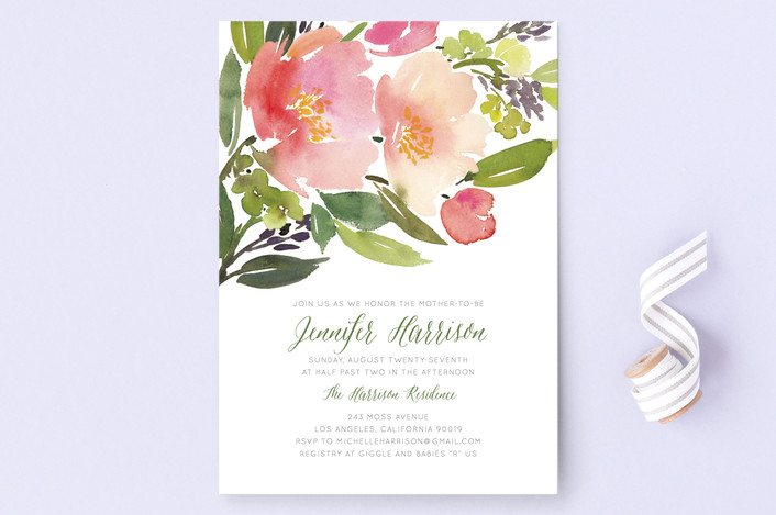 """""""Watercolor Floral"""" - Floral & Botanical Baby Shower Invitations in Olive by Yao Cheng Design."""