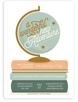 This is a green baby shower invitation by Stephanie Strouse called Adventure with Adoption with standard printing on signature in standard.