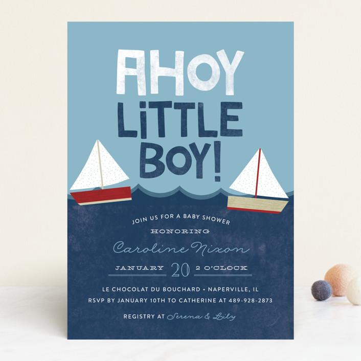 """Ahoy Little Boy"" - Hand Drawn Baby Shower Invitations in Marine by Ashley Hegarty."