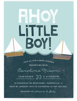 Ahoy Little Boy Baby Shower Invitations