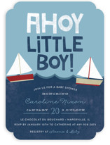 This is a blue baby shower invitation by Ashley Hegarty called Ahoy Little Boy with standard printing on signature in standard.
