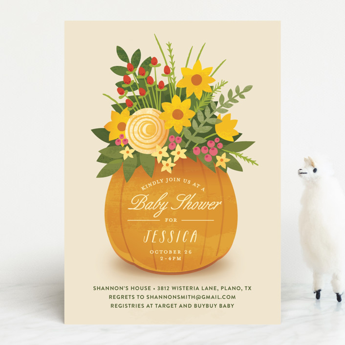 """Autumn Bouquet"" - Floral & Botanical Baby Shower Invitations in Pumpkin by Jessica Ogden."