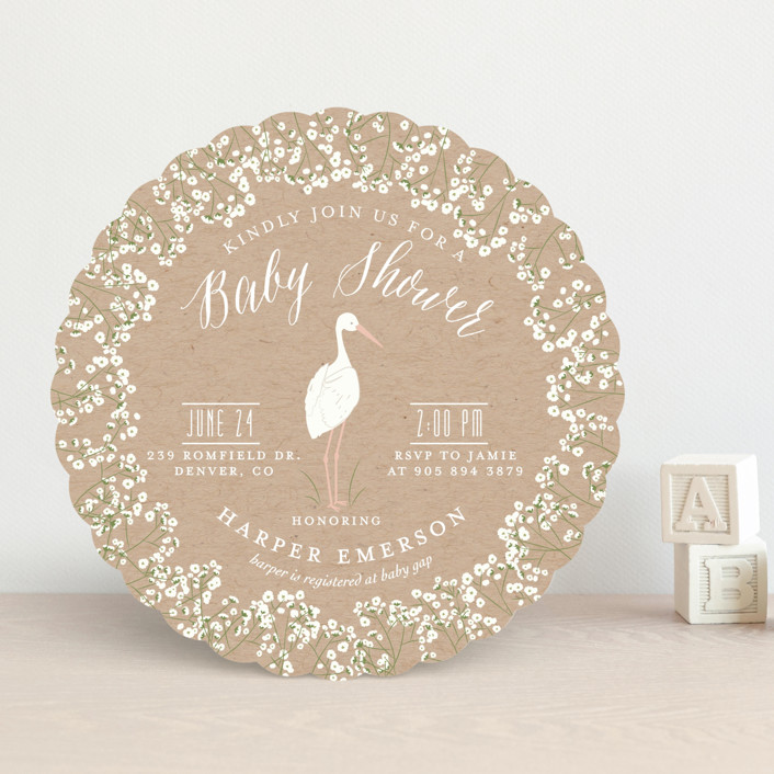 """""""Baby's Breath"""" - Rustic Baby Shower Invitations in Kraft by Susan Moyal."""