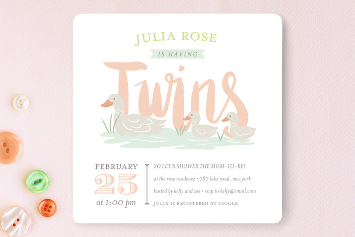 quack twice baby shower invitations by joanne will minted