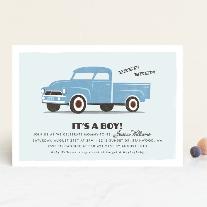 """vintage baby truck"" - Hand Drawn Baby Shower Invitations in Sky by Karidy Walker."