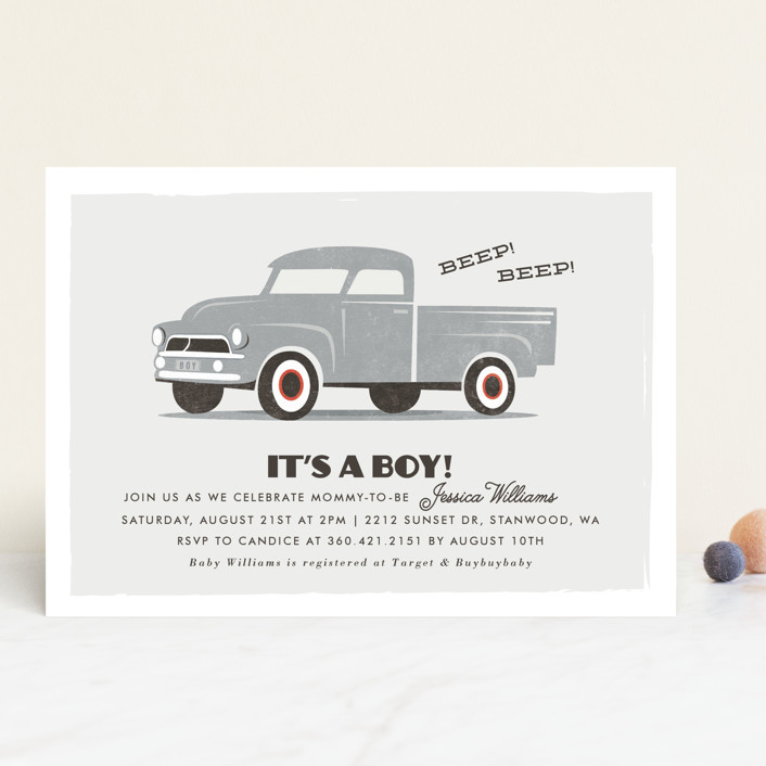 """""""vintage baby truck"""" - Hand Drawn Baby Shower Invitations in Seafoam by Karidy Walker."""