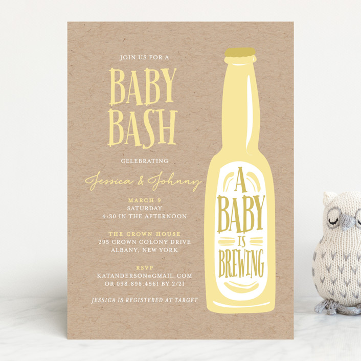 """""""Brewing baby love"""" - Rustic, Hand Drawn Baby Shower Invitations in Butter by heythird."""