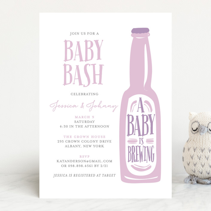 """""""Brewing baby love"""" - Rustic, Hand Drawn Baby Shower Invitations in Peach by heythird."""