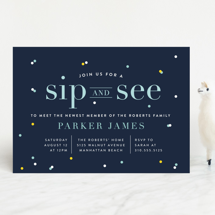 """Sip N See"" - Bold typographic, Modern Baby Shower Invitations in Navy by Shirley Lin Schneider."