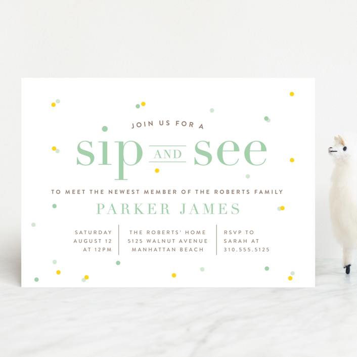 """""""Sip N See"""" - Bold typographic, Modern Baby Shower Invitations in Navy by Shirley Lin Schneider."""