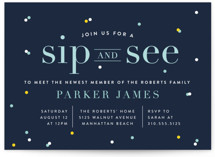 This is a blue baby shower invitation by Shirley Lin Schneider called Sip N See with standard printing on signature in standard.