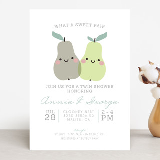 Sweet Pair Baby Shower Invitations