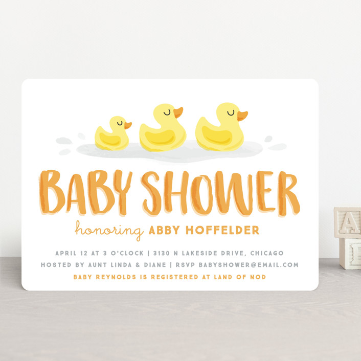 """Rubber Duckies"" - Baby Shower Invitations in Sunshine by Jessie Steury."