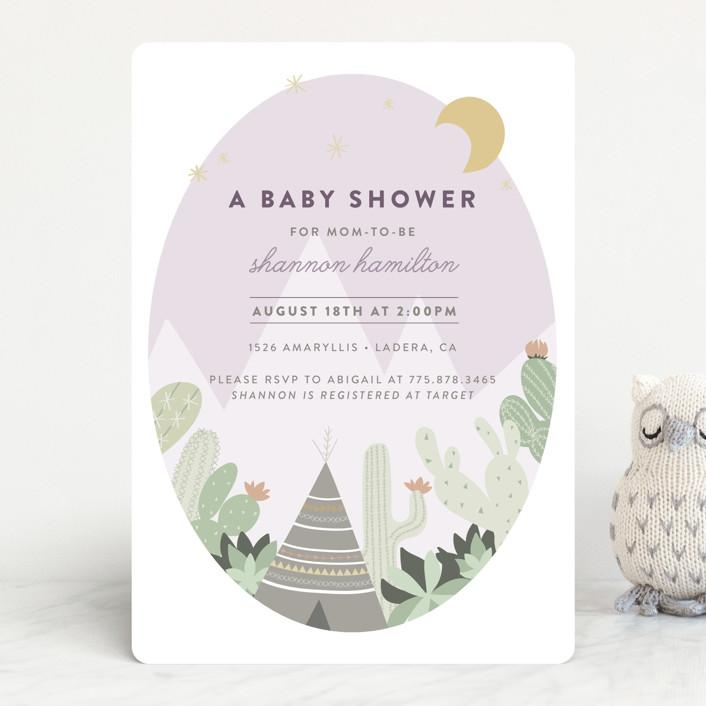 """Cactus Garden"" - Baby Shower Invitations in Aqua by Joanna Griffin."