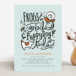 Frogs and Snails Baby Shower Invitations