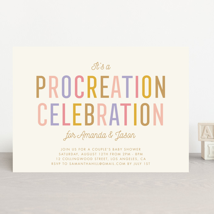 """""""Procreation Celebration"""" - Baby Shower Invitations in Vintage by Stacey Hill."""